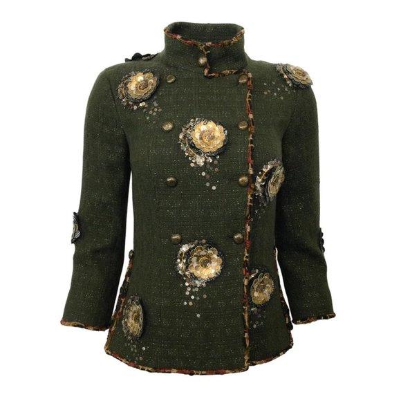 Chanel Olive Tweed with Leather Camellia Embellishments Blazer